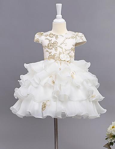 Vestido de baile vestido de flor vestido de flor - algodão mangas curtas jóia pescoço com flor