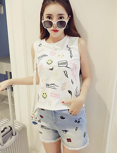 Dames Street chic Zomer Set Pantalon Suits,Casual/Dagelijks Geborduurd Ronde hals Mouwloos Wit Katoen Dun