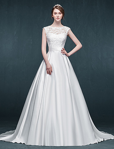 Linha A Vestido de Noiva Cauda Escova Decote em U Cetim com Renda / Faixa / Fita
