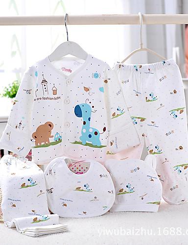 Baby Drenge Tøjsæt Afslappet/Hverdag Ensfarvet, Bomuld Forår Sommer Efterår Gul Lys pink Lyseblå