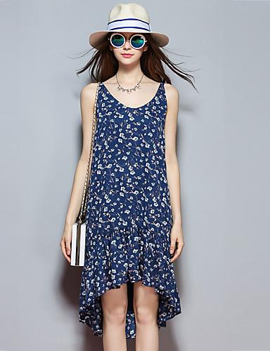 sybel kvinders gå ud street chic løs kjole, print rem knælang ærmeløs sommer blå bomuld