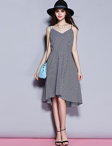 sybel kvinders gå ud / gade chic kappe kjole, v hals stribet knælang ærmeløs hvid / sort