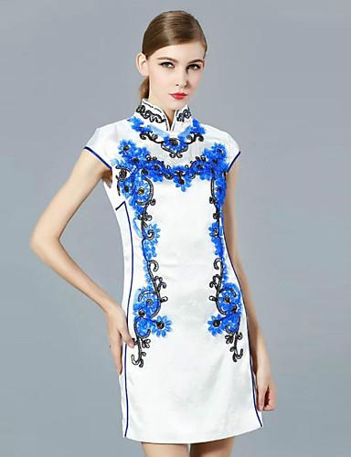 klimeda kvinners casual / daglig chinoiserie skifte kjole, brodert stå ovenfor kneet kort erme polyester sommer