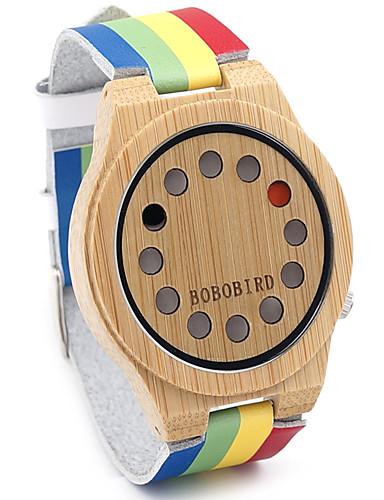 Herrn Uhr Holz Armbanduhr Modeuhr Quartz Japanischer Quartz / Schlussverkauf Leder Band Retro Regenbogen Freizeit Mehrfarbig