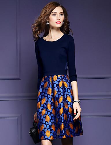 Feminino Bainha Vestido,Casual Tamanhos Grandes Simples Estampado Decote Redondo Altura dos Joelhos Poliéster Outono Cintura Média Sem