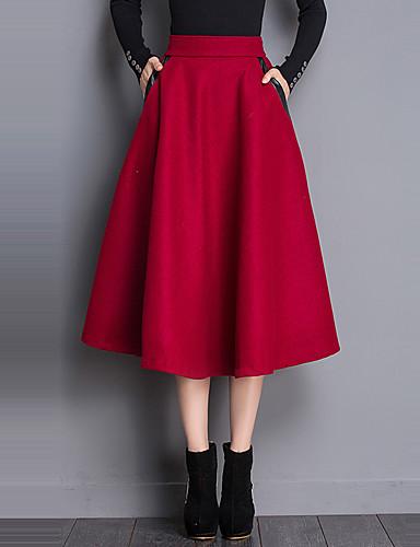 Kvinders Simpel / Street Midi Nederdele Mikroelastisk Polyester