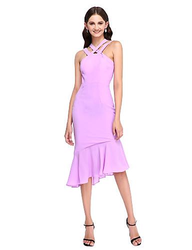 צמוד ומתרחב א-סימטרי שיפון שמלה לשושבינה  עם קפלים על ידי LAN TING BRIDE®