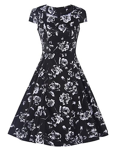 hesapli Vintage Kraliçesi-Kadın's Dışarı Çıkma Vintage Pamuklu Kılıf Elbise - Çiçekli Kare Yaka Diz-boyu