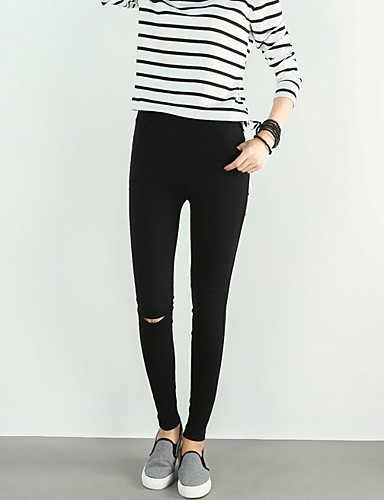 Dames Informeel Actief Medium taille Rekbaar Skinny Jeans Broek Polyester,Effen Alle seizoenen