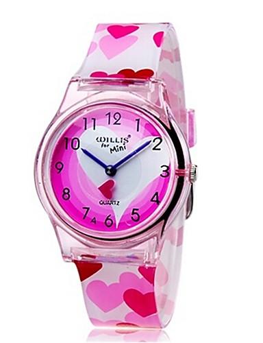 Kinder Armbanduhr Modeuhr Quartz Mehrfarbig Plastic Band Heart Shape Süßigkeit Freizeit Cool Rosa