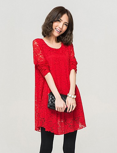 Women's Simple Street chic Loose Chiffon Dress - Solid Colored, Lace Pleated High Rise