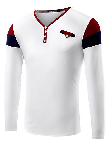Fritid / Arbejde / Formelt / Sport / Plusstørrelse Ensfarvet / Patchwork / Farveblok Mænds Langærmet T-shirt Bomuld / Spandex-Sort / Hvid