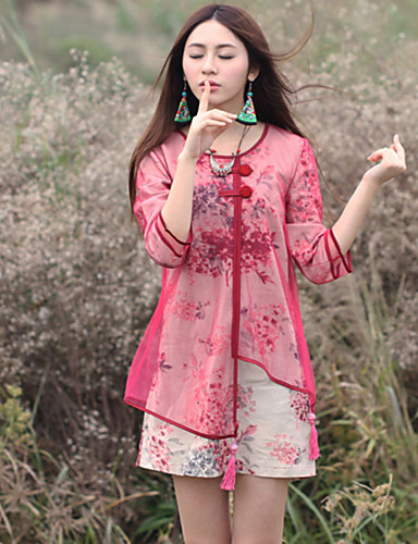 Damer Kineseri I-byen-tøj Plusstørrelser Løstsiddende Kjole Blomstret,Rund hals Over knæet Kortærmet Bomuld Hør Sommer Alm. taljede