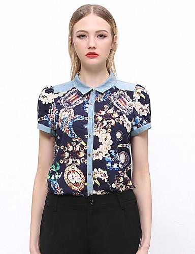 Kortærmet Krave Solid Dame Blå / Grøn Trykt mønster Sommer Vintage I-byen-tøj Skjorte,Bomuld / Polyester