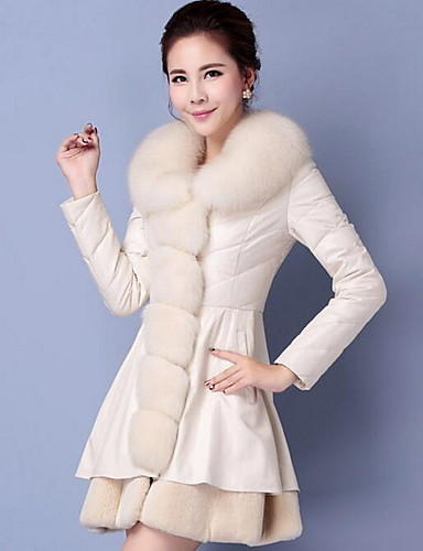 Women's Faux Fur / PU Fur Coat - Solid Colored / Fall / Winter / Fur Trim