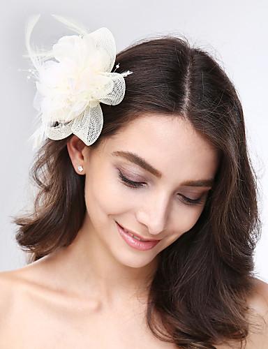 billige Blomsterpike-Tyll / Fjær / Nett fascinators / Hodeplagg med Blomster 1pc Bryllup / Spesiell Leilighet Hodeplagg