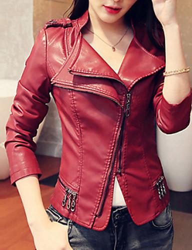Женский Средняя На каждый день / Большие размеры Куртка Женский , Длинный рукав , Полиуретановая