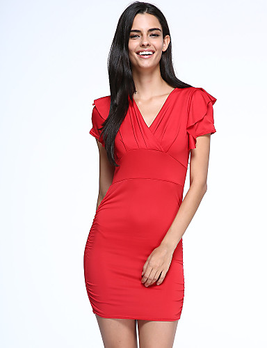 Women's Club Casual Sexy Bodycon Above Knee Dress, Solid V Neck Short Sleeves High Rise
