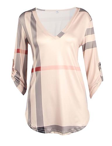 abordables Hauts pour Femme-Tee-shirt Femme, Tartan - Coton Col en V Blanche / Automne / Hiver