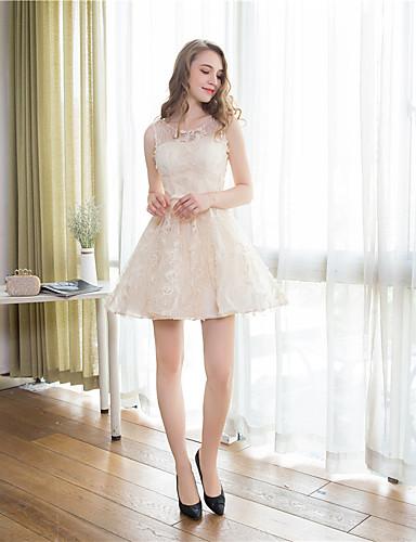 Short / Mini Lace Elegant Bridesmaid Dress - A-line Jewel with Bow(s) / Sash / Ribbon