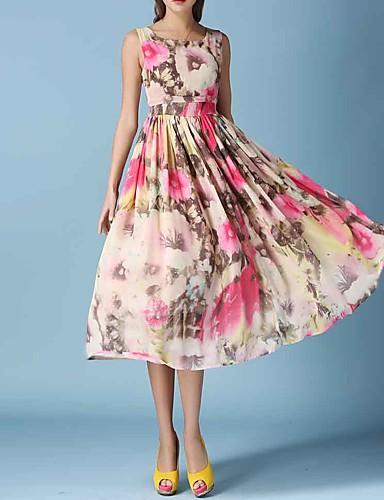 Dame Boheme Casual/hverdag Løstsiddende Kjole Blomstret,Rund hals Midi Uden ærmer Rosa Silke / Polyester Sommer Alm. taljede Uelastisk