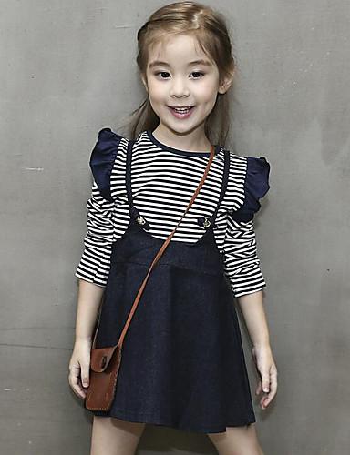 Mädchen Kleid Alltag Gestreift Baumwolle Frühling Herbst Langarm Streifen Marinenblau