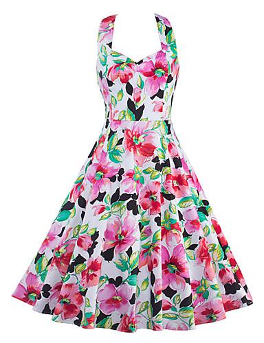 Feminino Bainha Vestido,Happy-Hour / Casual Vintage Floral Decote V Altura dos Joelhos Sem Manga Rosa Algodão / Poliéster VerãoCintura