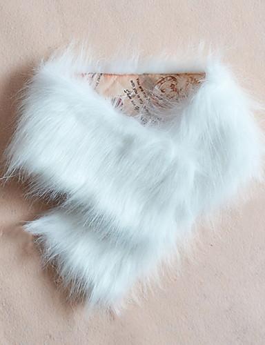 V-hals 1/2 ærmelængde Tyk Dame Hvid / Beige / Sort / Gul Ensfarvet Vinter Street Casual/hverdag Pelsfrakke,Imiteret pels