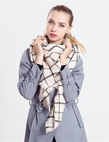 Damer Vintage / Casual Uldblanding Halstørklæde-Plaid Rektangulær
