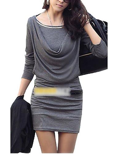 Damen Hülle Kleid - Gerüscht, Solide Mini Übers Knie