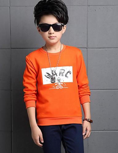 Drengens T-shirt Bomuld Trykt mønster Casual/hverdag Vinter Orange / Rød