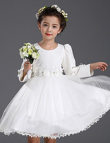 A-line knælængde blomsterpige kjole - bomuld satin tyll med lange ærmer med blomsternes blonder