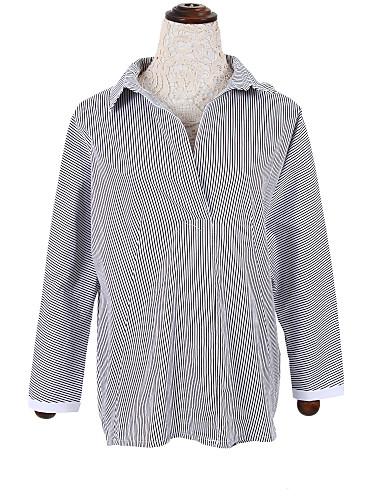 Vrouwen Eenvoudig Herfst Overhemd,Casual/Dagelijks Effen Overhemdkraag Lange mouw Blauw / Grijs Katoen Medium