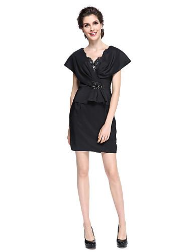 Szűk szabású V-nyakkivágás Rövid / mini Szatén Örömanya ruha - Gyöngydíszítés által LAN TING BRIDE®