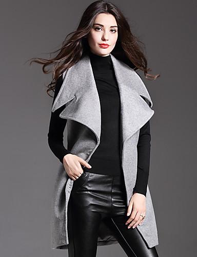 Vrouwen Eenvoudig Herfst Trenchcoat,Casual/Dagelijks Overhemdkraag-Mouwloos Grijs Effen Medium Wol