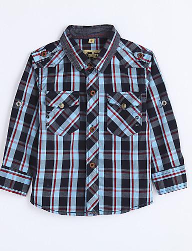 Skjorte Daglig Houndstooth mønster, Bomuld Efterår Blå