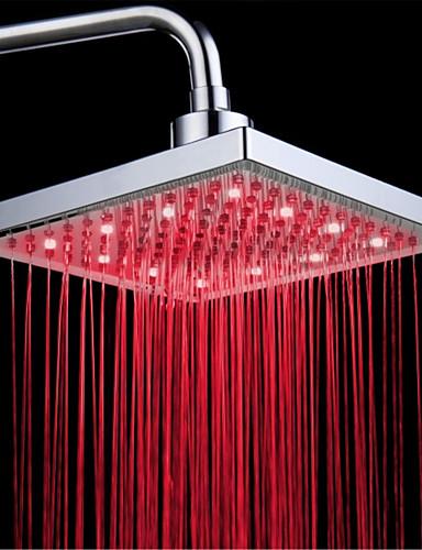 billige LED Dusjhoder-topp spray dusjhode med tricolor lysende fargetemperatur / 8 tommers vann booster topp spray (abs plating) ledet