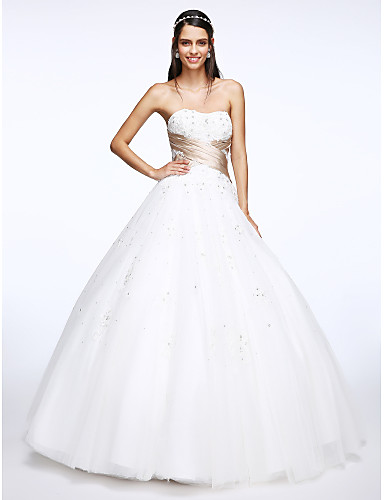 A-Line Sweetheart Floor Length Tulle Wedding Dress with Appliques Criss-Cross by LAN TING BRIDE®