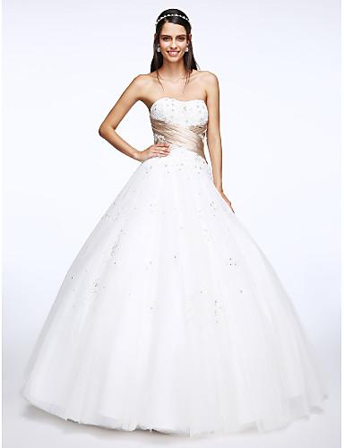 Trapèze Coeur Longueur Sol Tulle Robe de mariée avec Appliques Effet Croisé par LAN TING BRIDE®