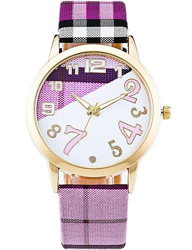 Damen Armbanduhr Modeuhr Armbanduhren für den Alltag Quartz / Armbanduhren für den Alltag Leder Band Freizeit Cool Weiß Blau Grün Rosa
