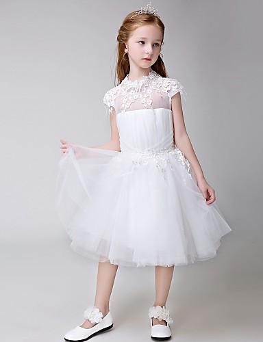 Kjole kjole knælængde blomst pige kjole - tule kort ærmer juvel hals med applikation