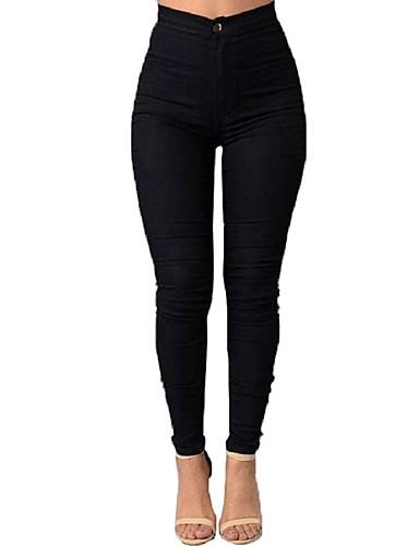 Mulheres Cintura Alta Skinny Justas/Skinny Jeans Calças - Sólido