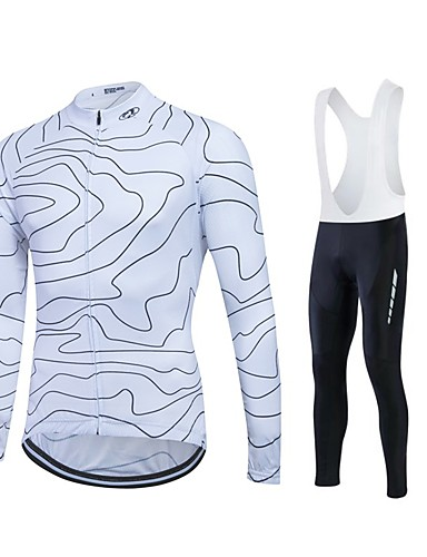 cheap Cycling Clothing-Fastcute Men's Long Sleeve Cycling Jersey Bike Clothing Suit Thermal / Warm Windproof Fleece Lining Breathable 3D Pad Winter Sports Polyester Velvet Fleece Sports Mountain Bike MTB Road Bike Cycling