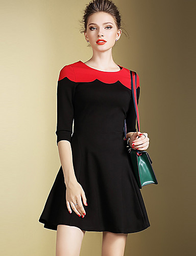 Naiset Tuppi Mekko Vintage Yksinkertainen Bile Plus-koko,Color Block Pyöreä kaula-aukko Reisipituinen Polyesteri Syksy Keski vyötärö