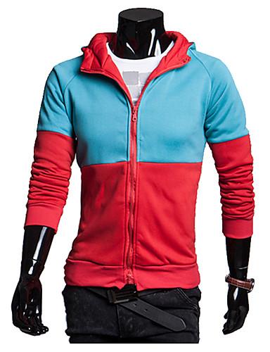 Heren Actief Casual/Dagelijks Trui met capuchon Kleurenblok Overhemdkraag Micro-elastisch Katoen Lange mouw Lente Herfst