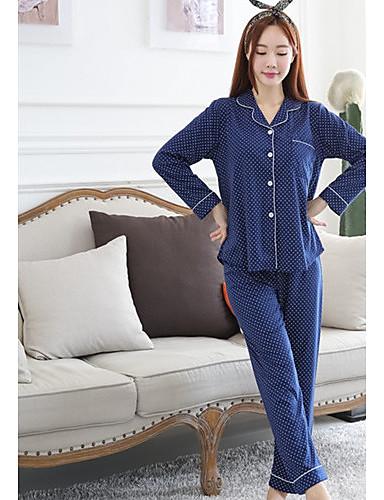 Mulheres Decote V Pijamas - Estampado, Poá