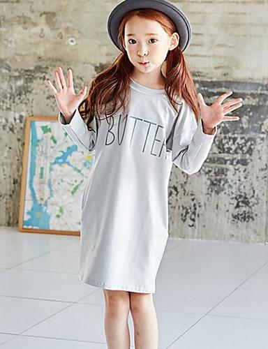 Menina de Vestido Casual Estampado Primavera Outono Algodão Manga Longa