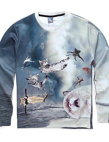Heren Actief Casual/Dagelijks Sweatshirt Print Ronde hals Micro-elastisch Polyester Lange mouw Herfst Winter