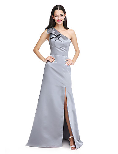 A-Line One Shoulder Sweep / Brush Train Satin Bridesmaid Dress with Bow(s) Split Front by LAN TING BRIDE®