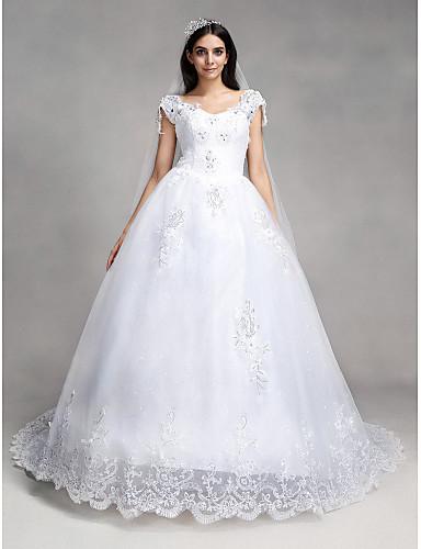 Βραδινή τουαλέτα Λαιμόκοψη V Μακριά ουρά Δαντέλα / Τούλι Φορέματα γάμου φτιαγμένα στο μέτρο με Χάντρες / Πούλιες / Διακοσμητικά Επιράμματα